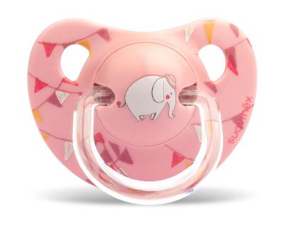Suavinex Ortodontik Silikon Emzik ( 6 - 18 ay) Tekli Le Cirque (Pembe)