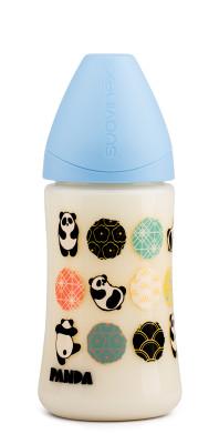Suavinex PP Geniş Ağız Biberon 270 ml - Ortodontik Silikon Uç (No.1 Orta Akış) Panda (Mavi)