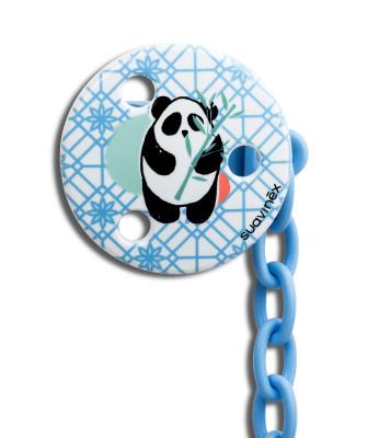 Suavinex Total Look Yuvarlak Emzik Zinciri Panda (Mavi)