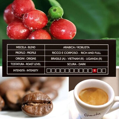 Gimoka Intenso Kapsül Kahve 10 X 2 Yoğunluk : 11 (Nespresso® makineleri ile uyumlu)