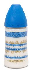 Suavinex - Suavinex Couture Geniş Ağız Biberon 270 ml - 3 Pozisyonlu Silikon Uç Mavi