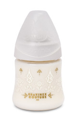 Suavinex - Suavinex Couture Geniş Ağız Biberon 150 ml Yuvarlak Uç No.1 Yavaş Akış Silikon Uç (0+ ay) Beyaz