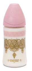 Suavinex - Suavinex Couture Geniş Ağız Biberon 270 ml - 3 Pozisyonlu Silikon Uç Pembe