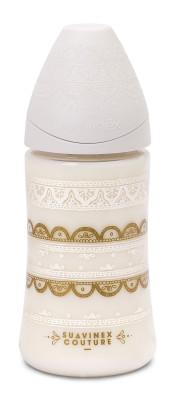 Suavinex Couture Geniş Ağız Biberon 270 ml - 3 Pozisyonlu Silikon Uç Beyaz