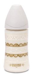 Suavinex - Suavinex Couture Geniş Ağız Biberon 270 ml - 3 Pozisyonlu Silikon Uç Beyaz