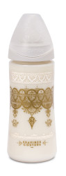 Suavinex - Suavinex Couture Geniş Ağız Biberon 360 ml Yuvarlak Uç No.2 Yoğun Akış Silikon Uç (4+ ay) Beyaz