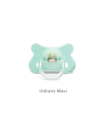Suavinex Fusion Ortodontik Silikon Emzik ( 4-18 ay) Indians Mavi