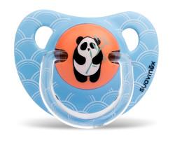 Suavinex - Suavinex Kauçuk Ortodontik Emzik (6-18 ay) Tekli Panda (Mavi)