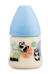 Suavinex - Suavinex PP Geniş Ağız Biberon 150 ml - Ortodontik Silikon Uç (No.1 Orta Akış) Panda (Mavi)