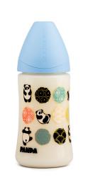 Suavinex - Suavinex PP Geniş Ağız Biberon 270 ml - Ortodontik Silikon Uç (No.1 Orta Akış) Panda (Mavi)