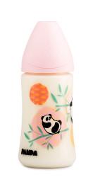 Suavinex - Suavinex PP Geniş Ağız Biberon 270 ml - Ortodontik Silikon Uç (No.1 Orta Akış) Panda (Pembe)