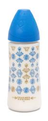 Suavinex - Suavinex Couture Geniş Ağız Biberon 360 ml Yuvarlak Uç No.2 Yoğun Akış Silikon Uç (4+ ay) Mavi