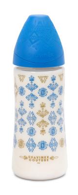 Suavinex Couture Geniş Ağız Biberon 360 ml Yuvarlak Uç No.2 Yoğun Akış Silikon Uç (4+ ay) Mavi