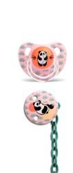 Suavinex - Suavinex Silikon Ortodontik Emzik ( 6 - 18 ay ) + Emzik Zinciri Set Panda (Pembe)