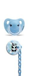 Suavinex - Suavinex Silikon Ortodontik Emzik ( 6 - 18 ay ) + Emzik Zinciri Set Panda (Mavi)