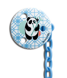 Suavinex - Suavinex Total Look Yuvarlak Emzik Zinciri Panda (Mavi)